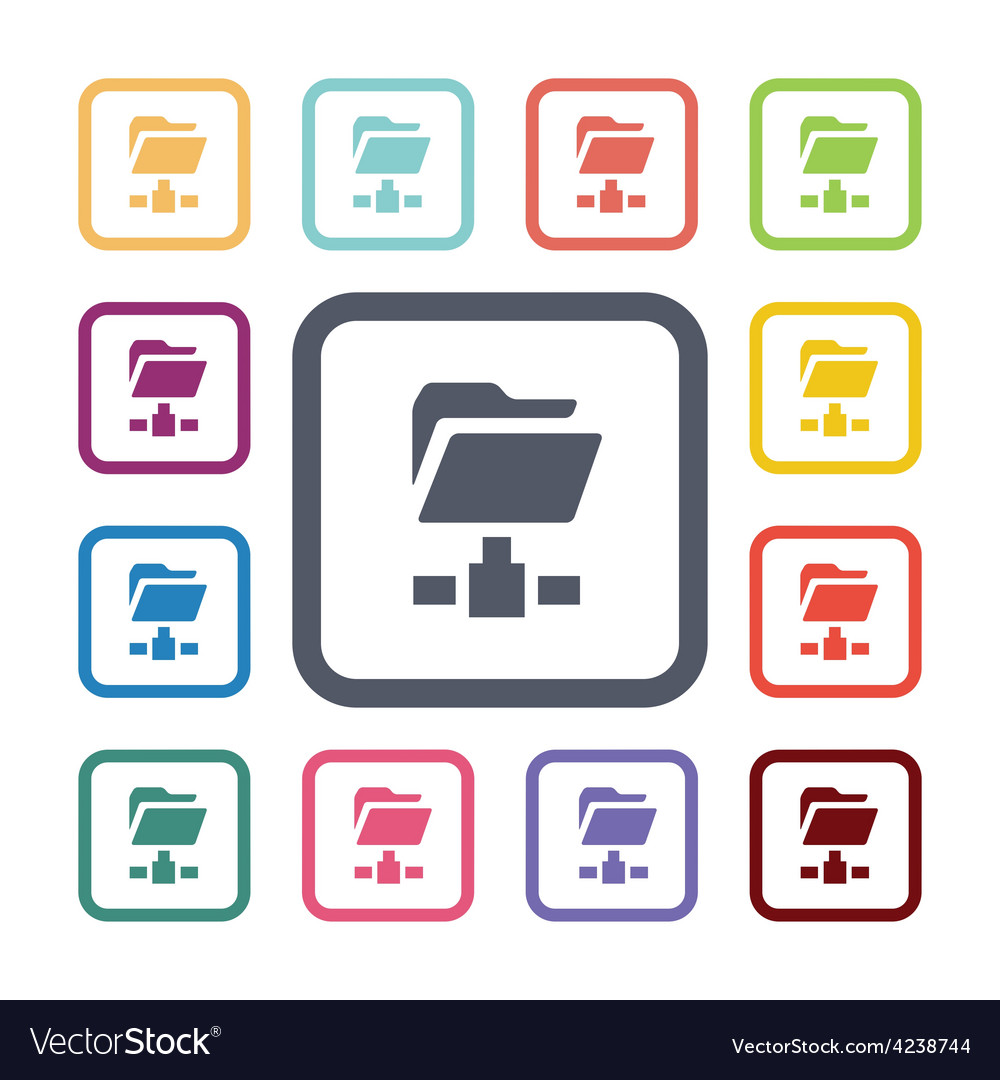 Net folder flat icons set