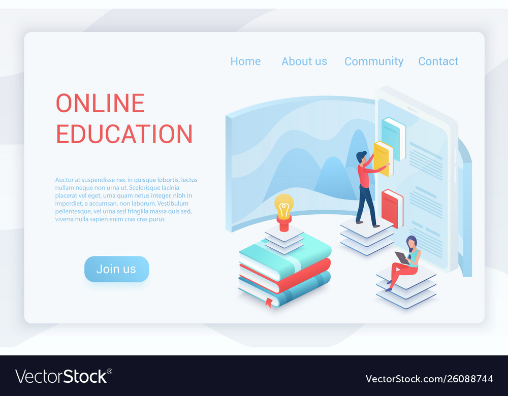 Online education elearning isometric landing page