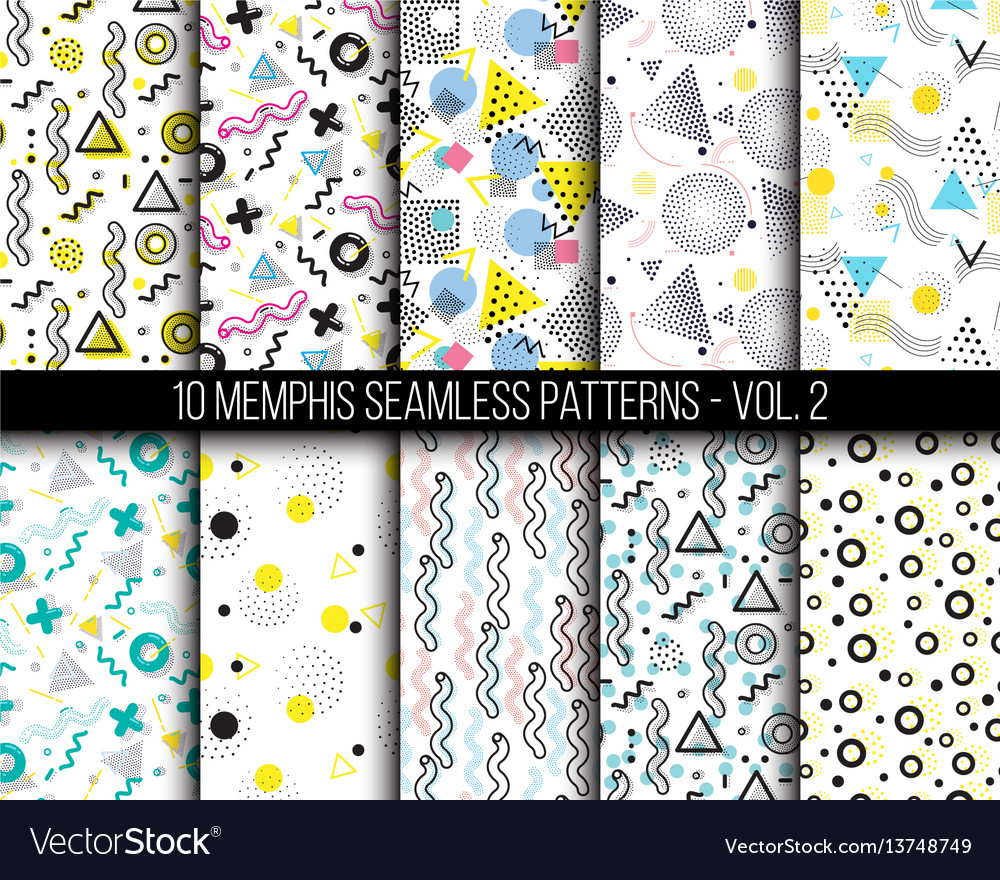 10 universal different geometric memphis seamless vector