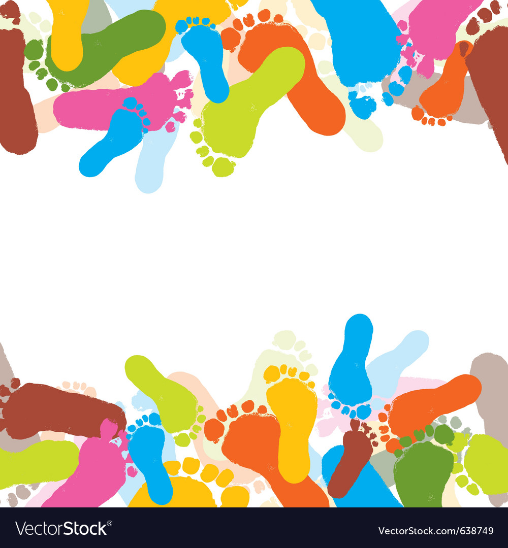 Abstract background prints of foots of the child