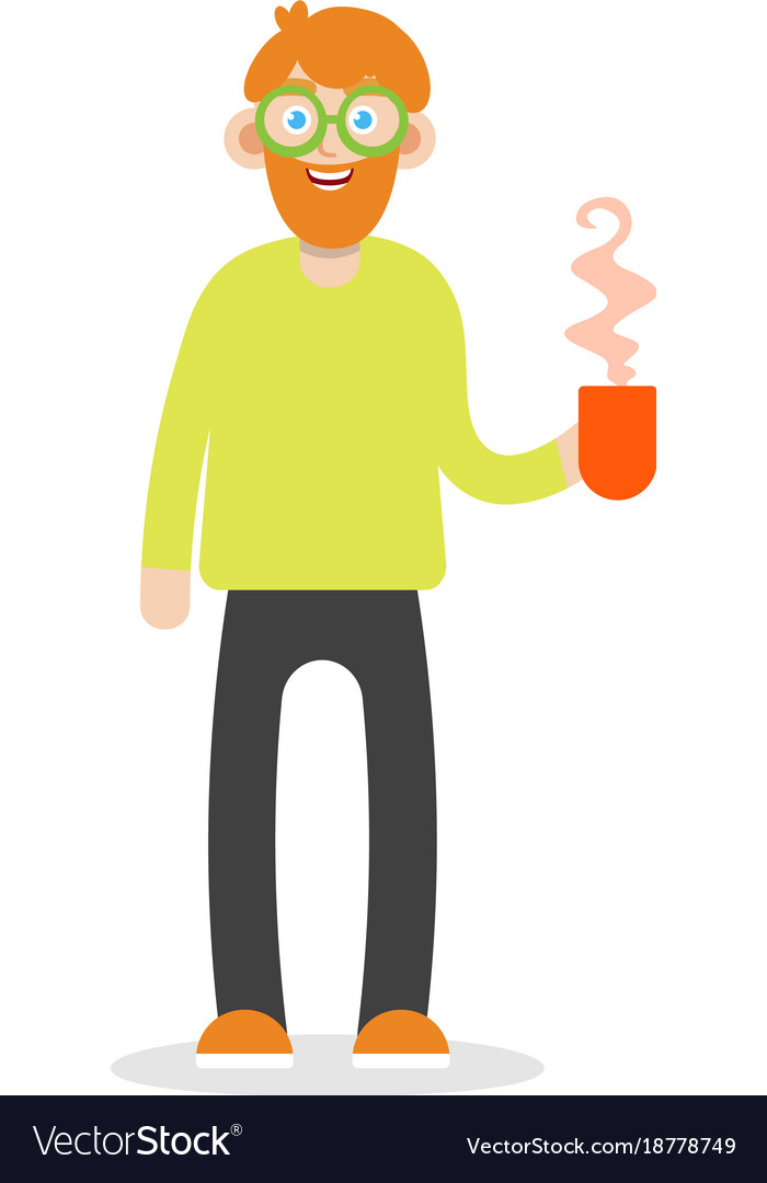 Bearded man is holding a cup of tea