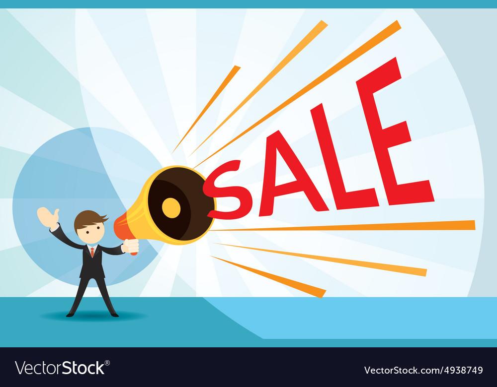 Businessman with Megaphone Announcement Sale