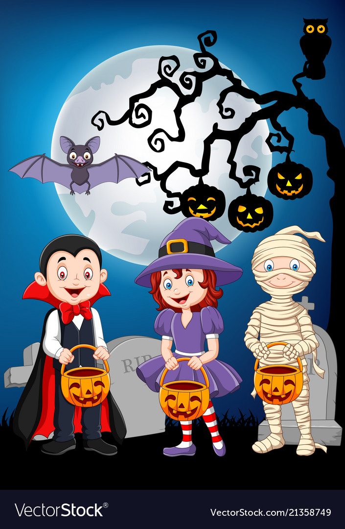 Cartoon kids with halloween costume holding pumpki