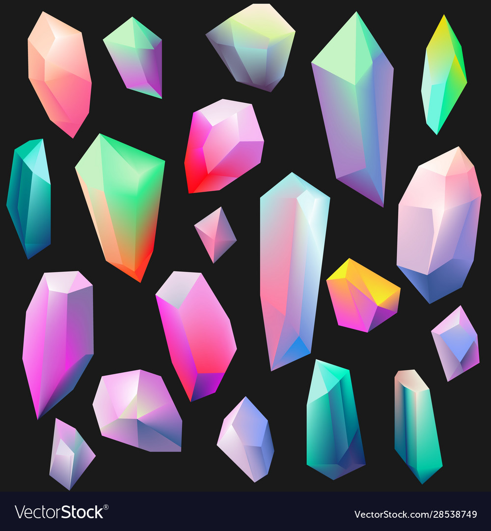 Colorful gemstones isolated on black crystal icon