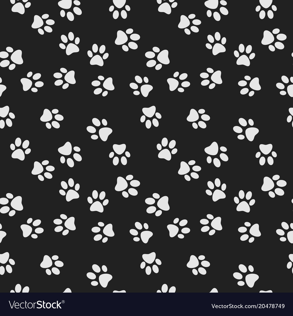 Dog paw print dark seamless pattern