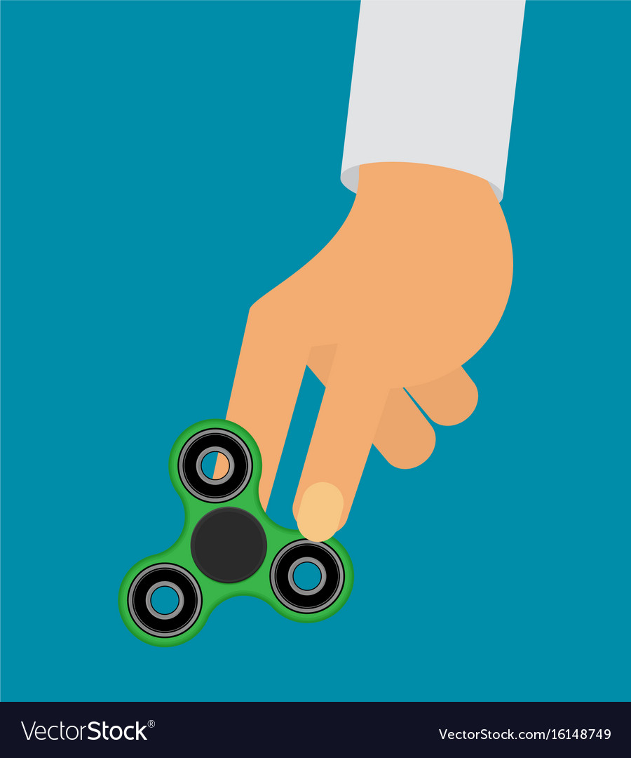 Flat hand spinner holding in hand vector image