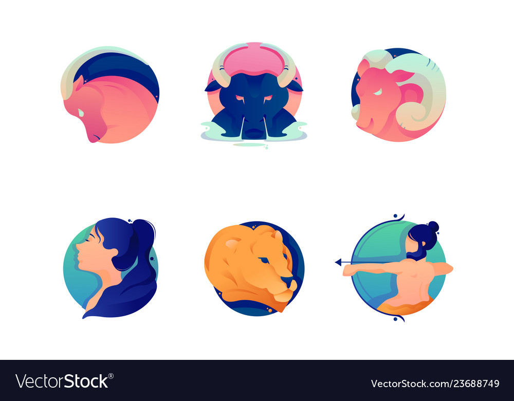 Flat set cartoon zodiac icons with bull lion