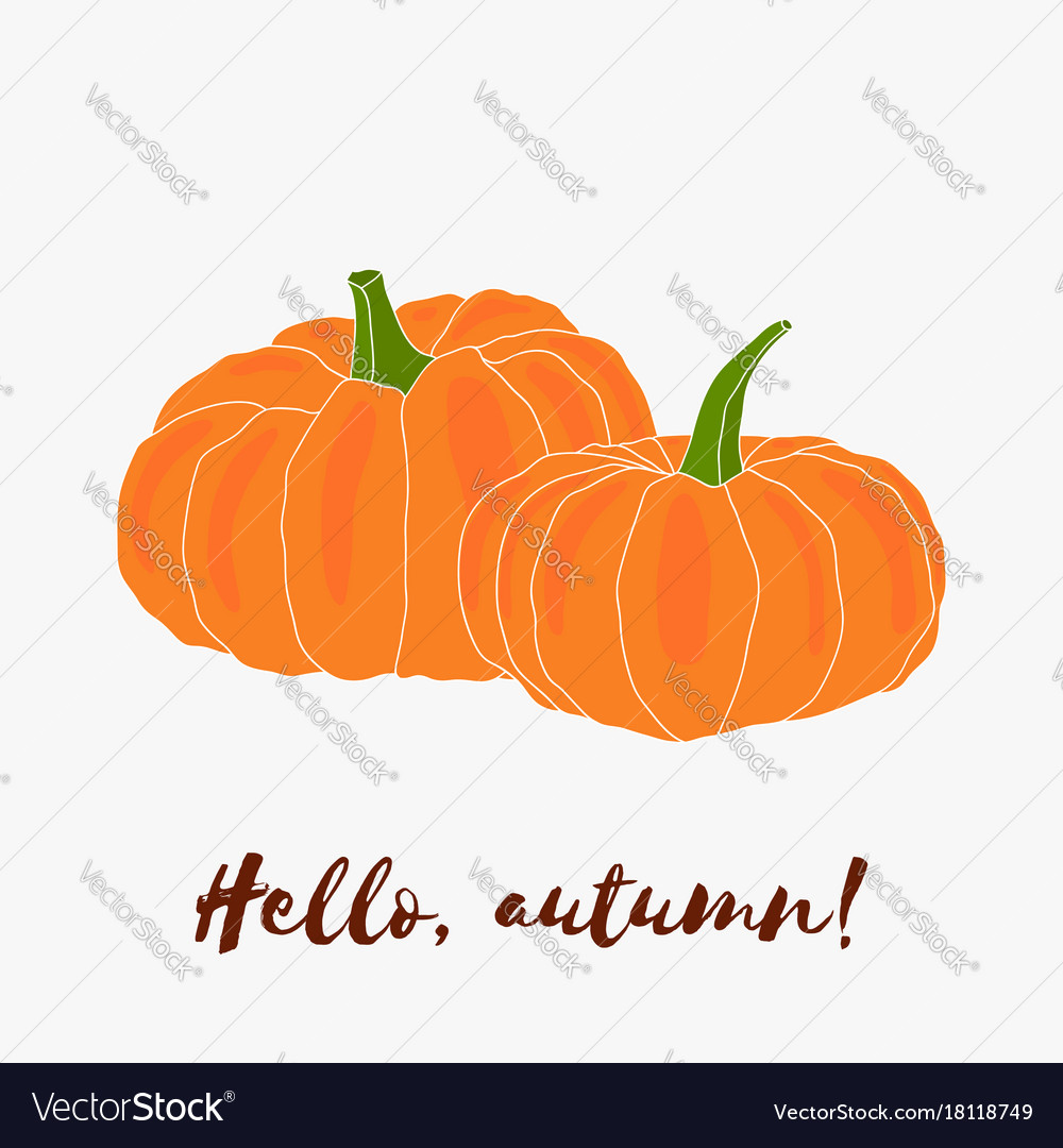Hello autumn hand drawn logo with lettering