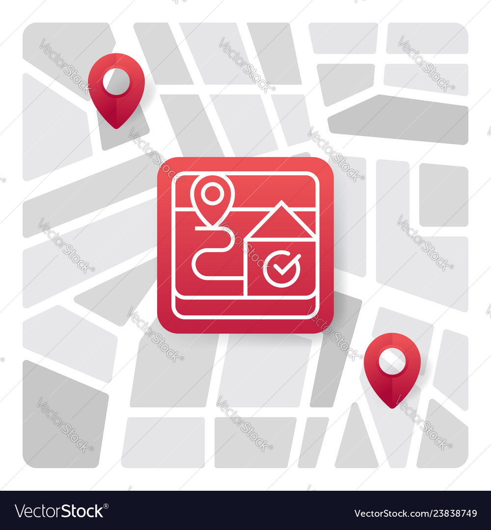Map logo icon with red gradient color
