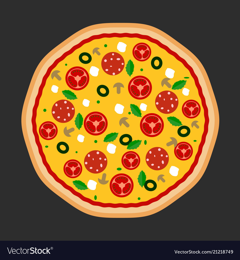 Pizza flat icons isolated on dark
