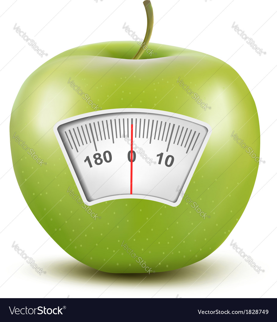 Set of apples with a weight scale Diet concept