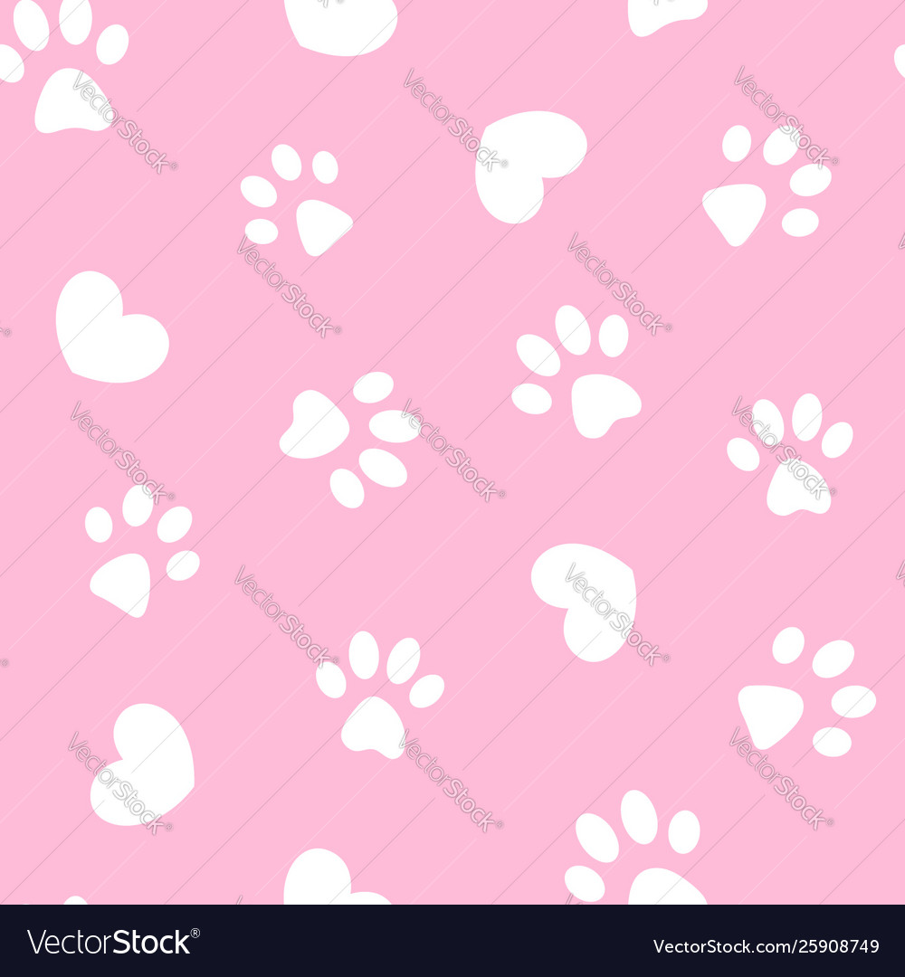 White paws and hearts on pink seamless pattern