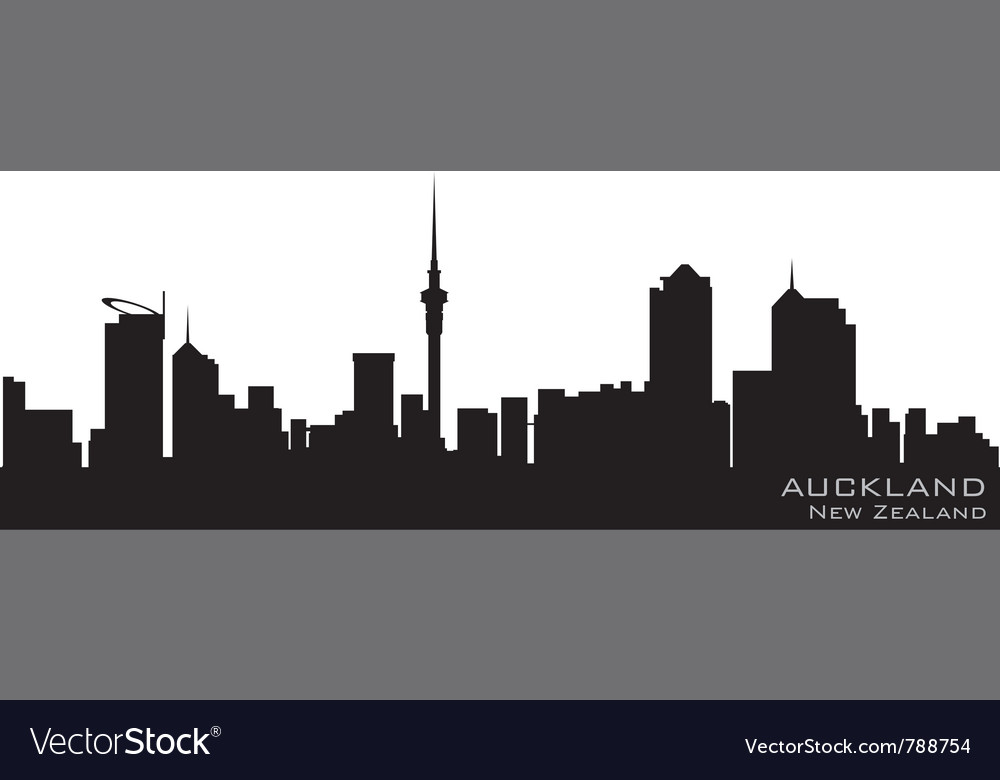 Auckland new zealand skyline detailed silhouette