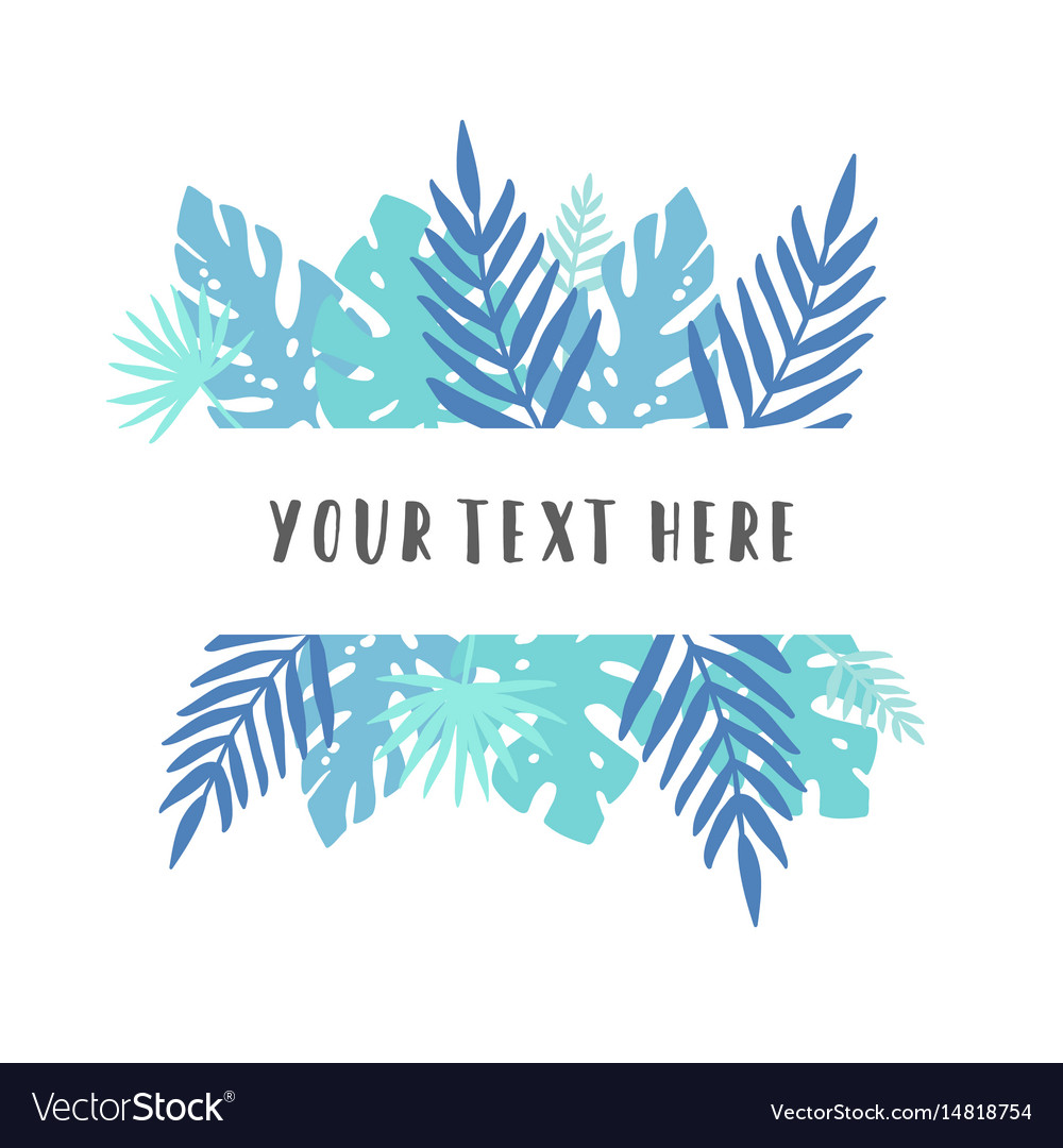 Blue Tropical Leaves Royalty Free Vector Image Tropical leaves fashion boutique sign or logo vector. vectorstock