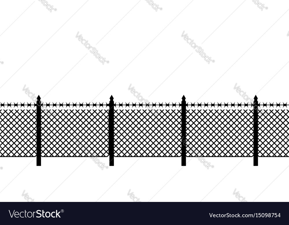 Boundary fence with barbed wire border protection