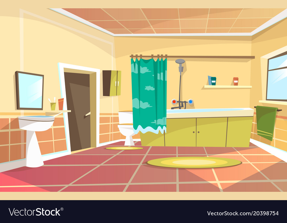 Cartoon bathroom interior background Royalty Free Vector