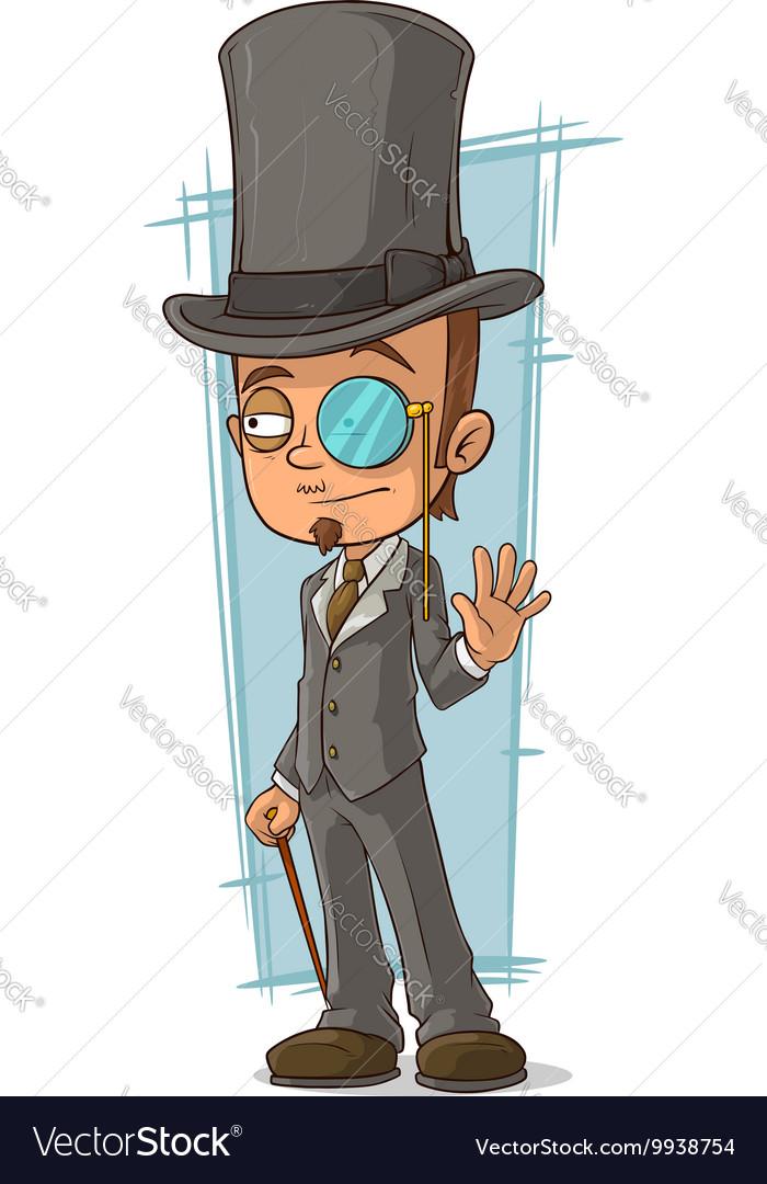 Cartoon intelligent man with walking stick vector image