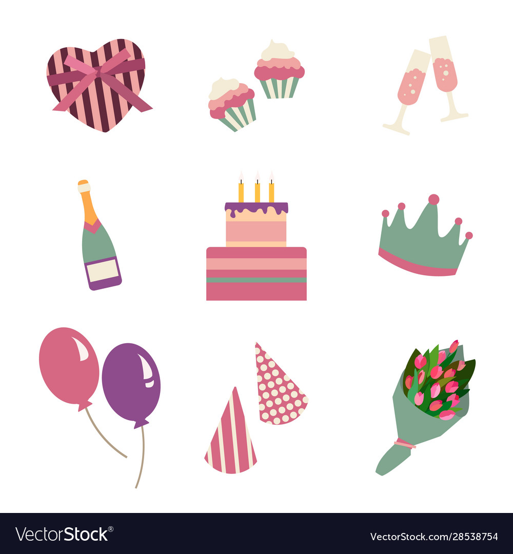 Happy birthday party icon in flat style set