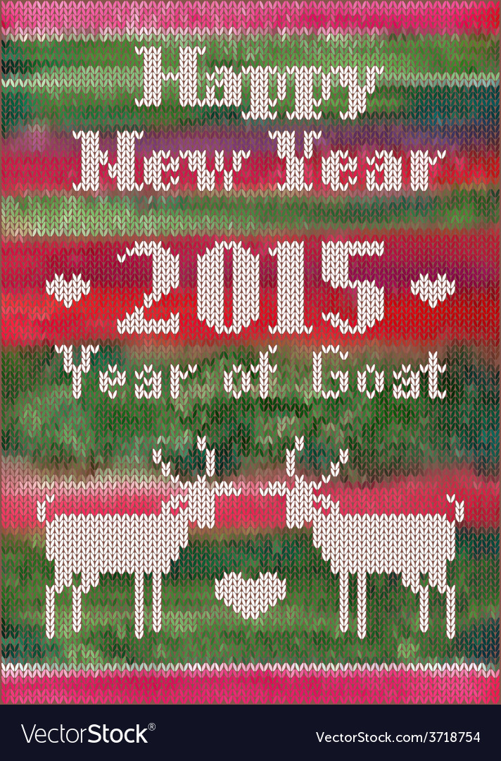 Knitted New Year postcard with goats