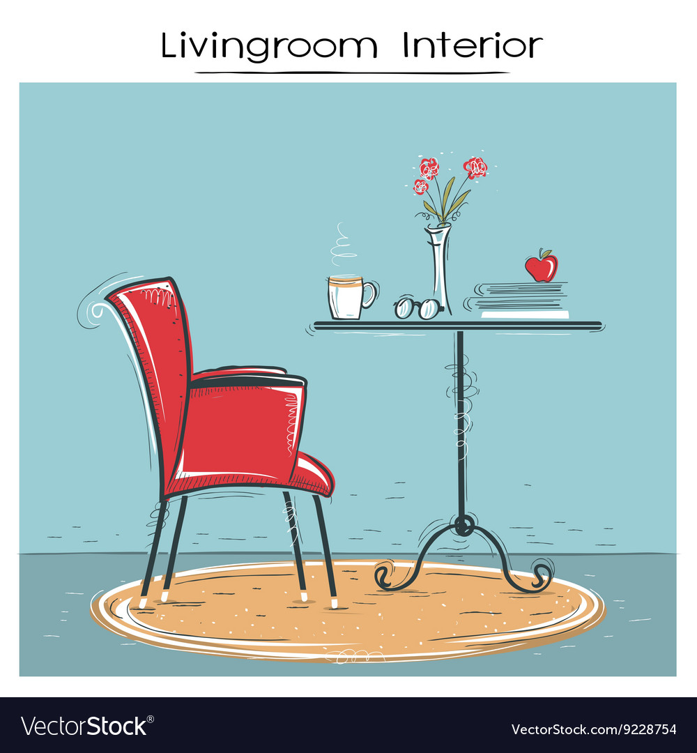 Livingroom interior for reading or relaxHand drawn vector image