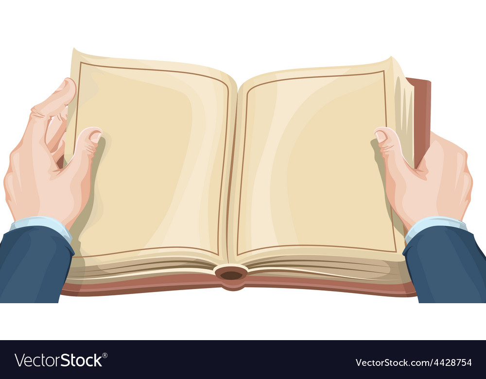 male hands holding open book royalty free vector image