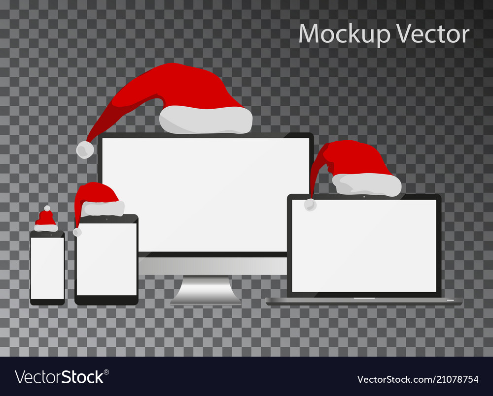 Mockup screens with santa claus hats collection is