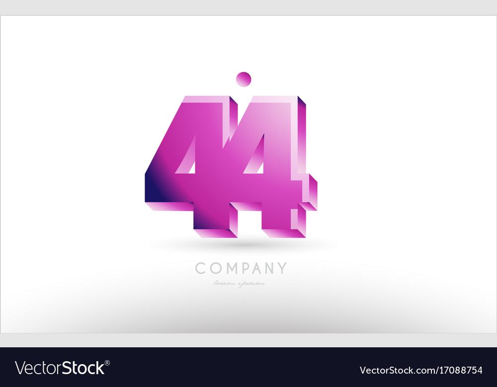 Number 44 black white pink logo icon design vector image