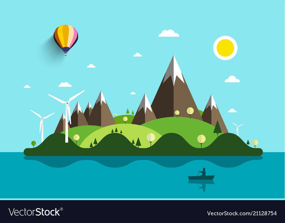 Ocean landscape with island and man on boat flat vector image