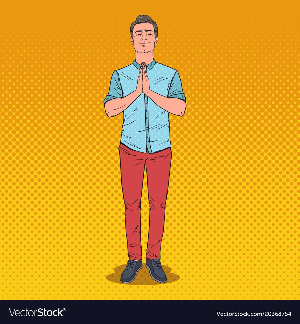 Pop art young man praying with smile happy prayer