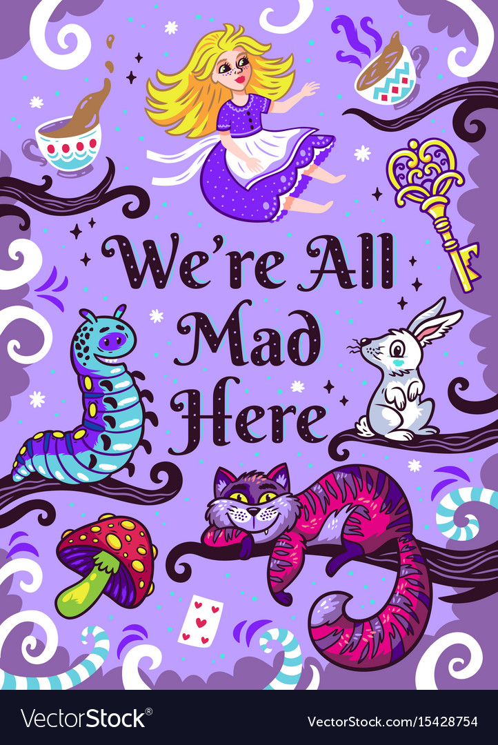 Print with characters from alice in wonderland vector image
