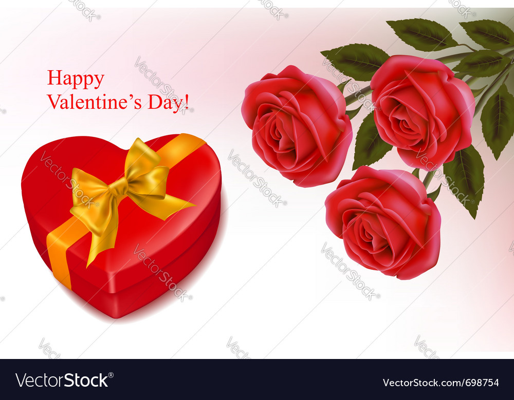 Red roses and a box vector image
