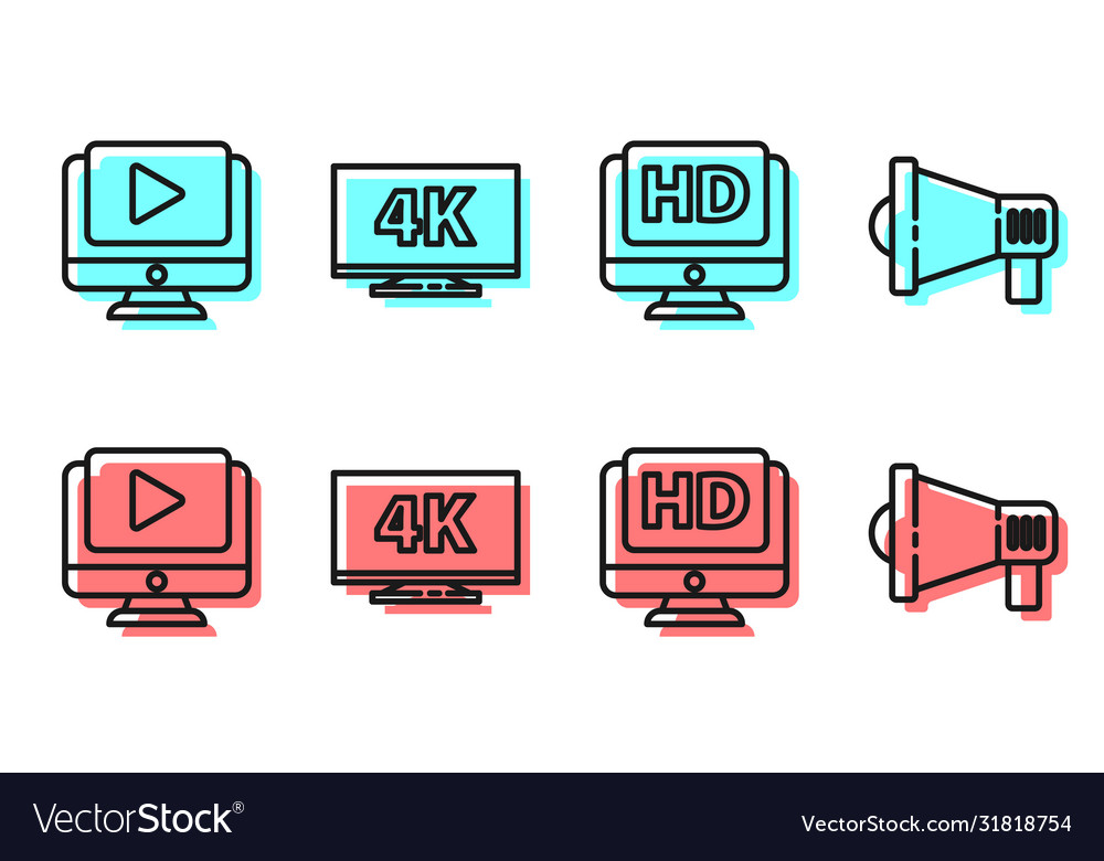Set line monitor with hd video online play video Vector Image