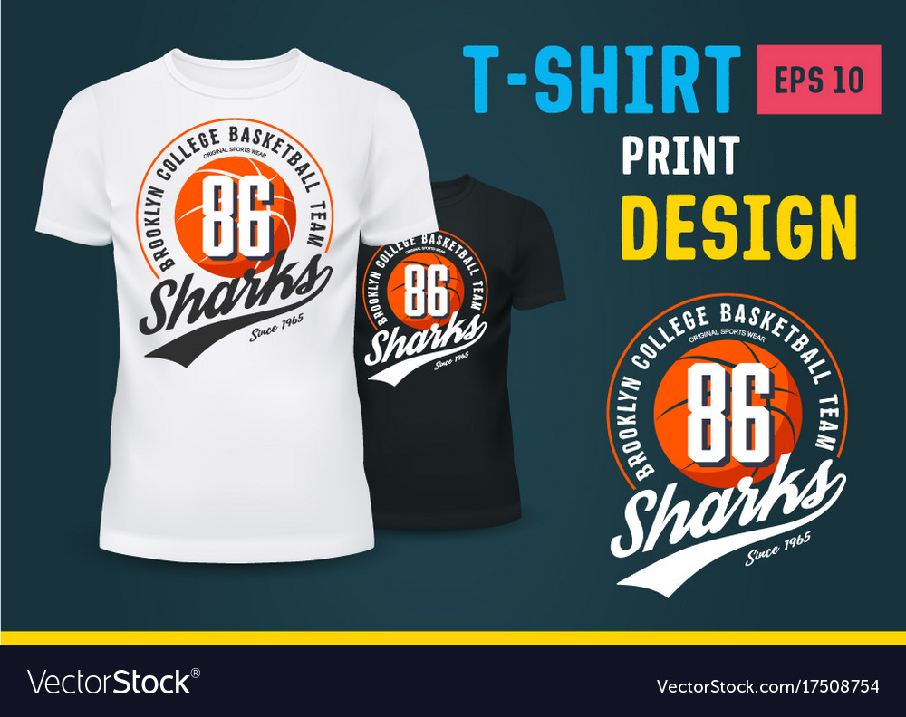Sportswear T Shirt With Print For Basketball Team Vector Image