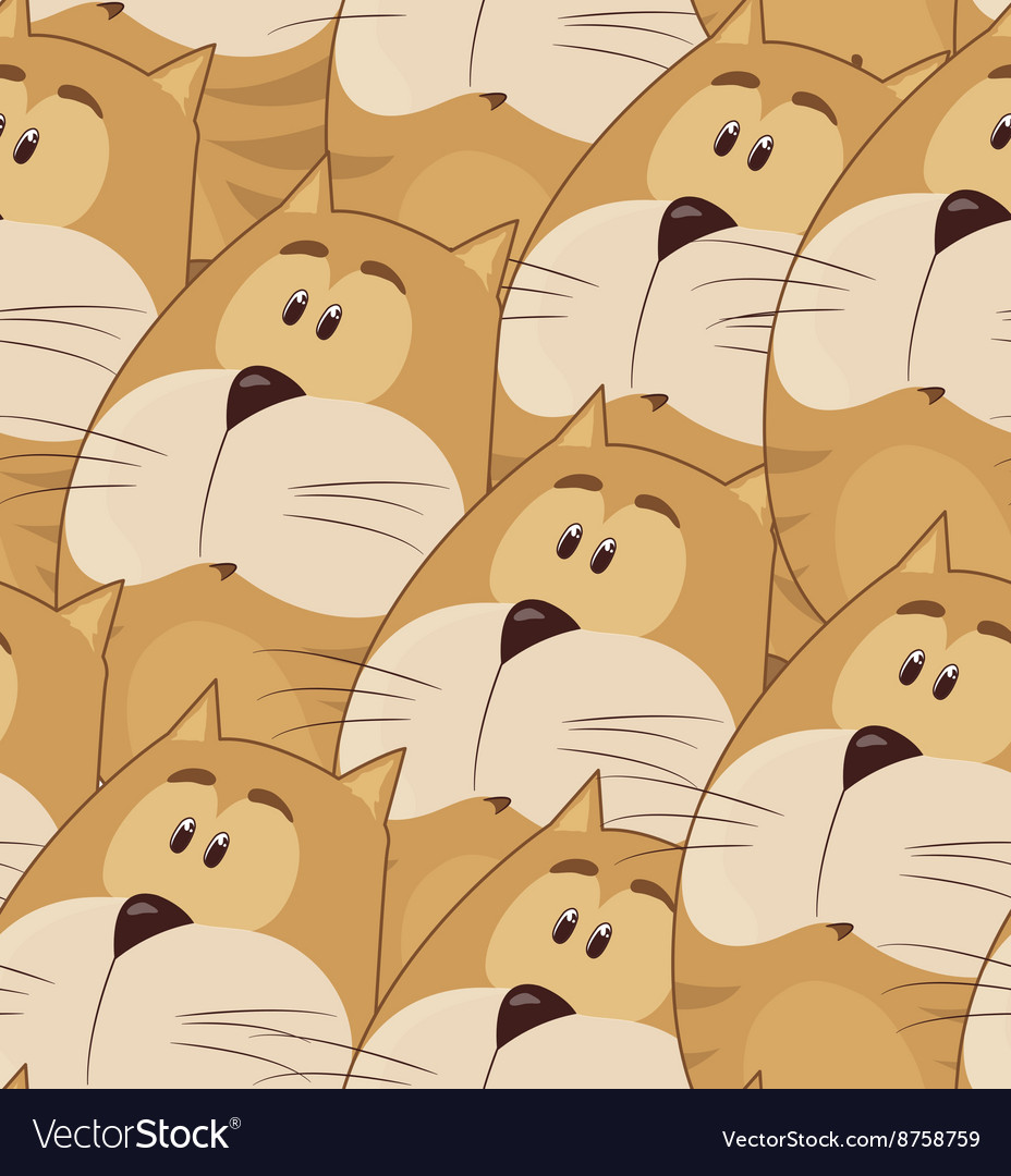 Amusing animation chubby cat Seamless pattern for