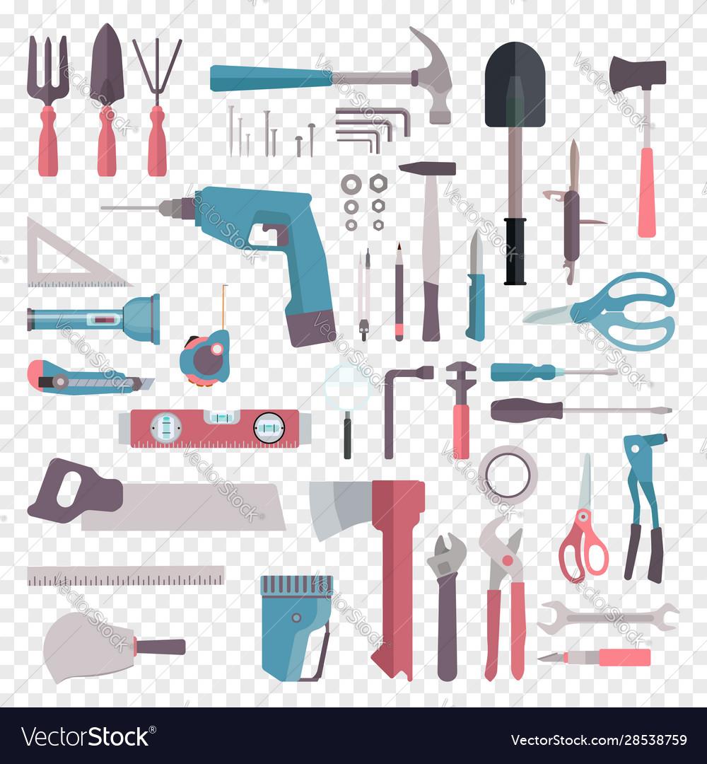 Big set cartoon building tools repair home