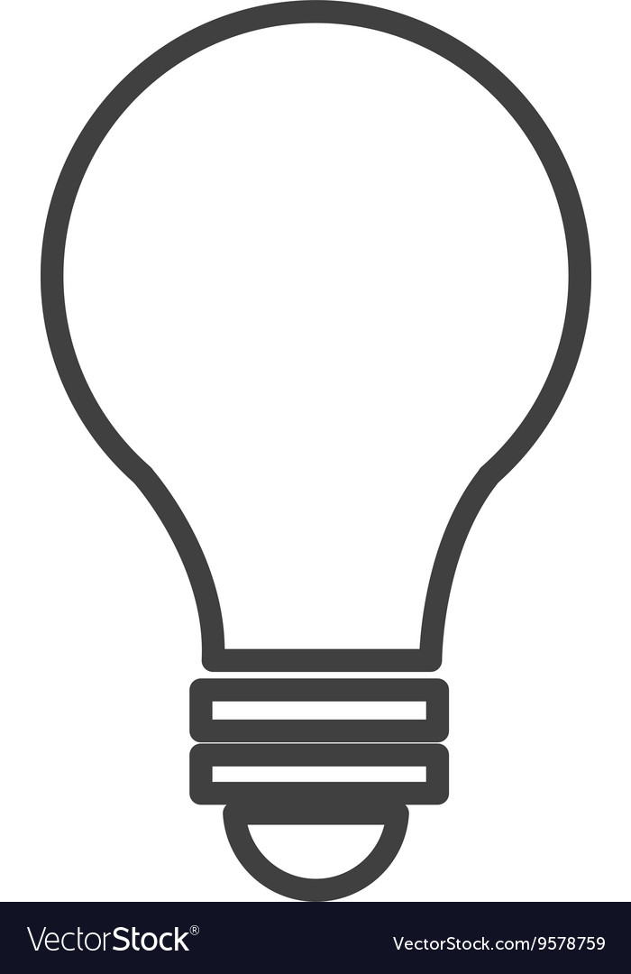 Black and white light bulb graphic Royalty Free Vector Image