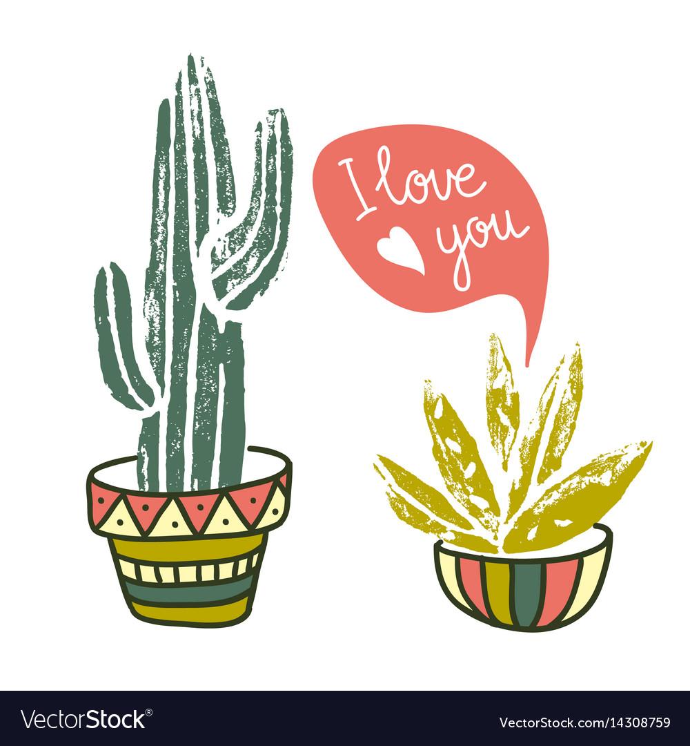Cactus hand-drawn poster grunge silhouette print