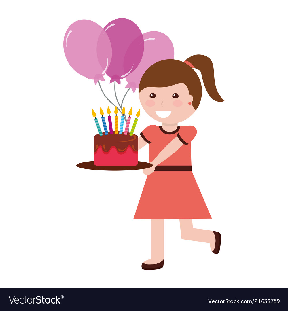 Superb Cute Girl Holding Birthday Cake With Candles And Vector Image Funny Birthday Cards Online Overcheapnameinfo