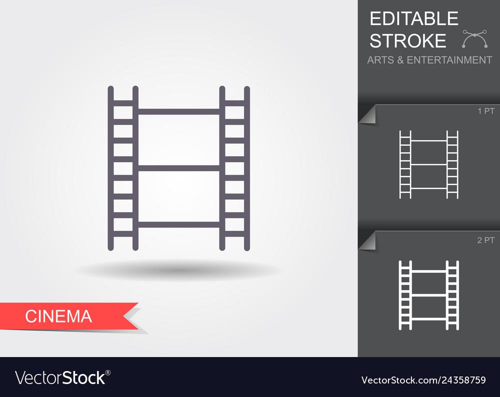 Film strip line icon with editable stroke