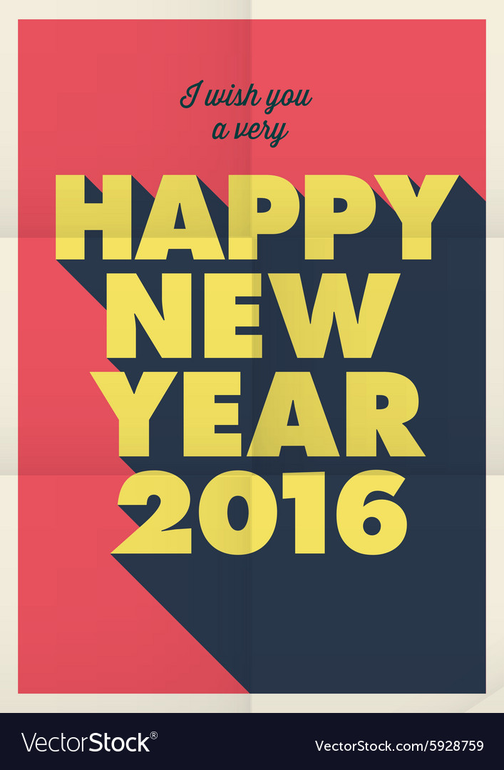 Happy new year 2016 poster retro title