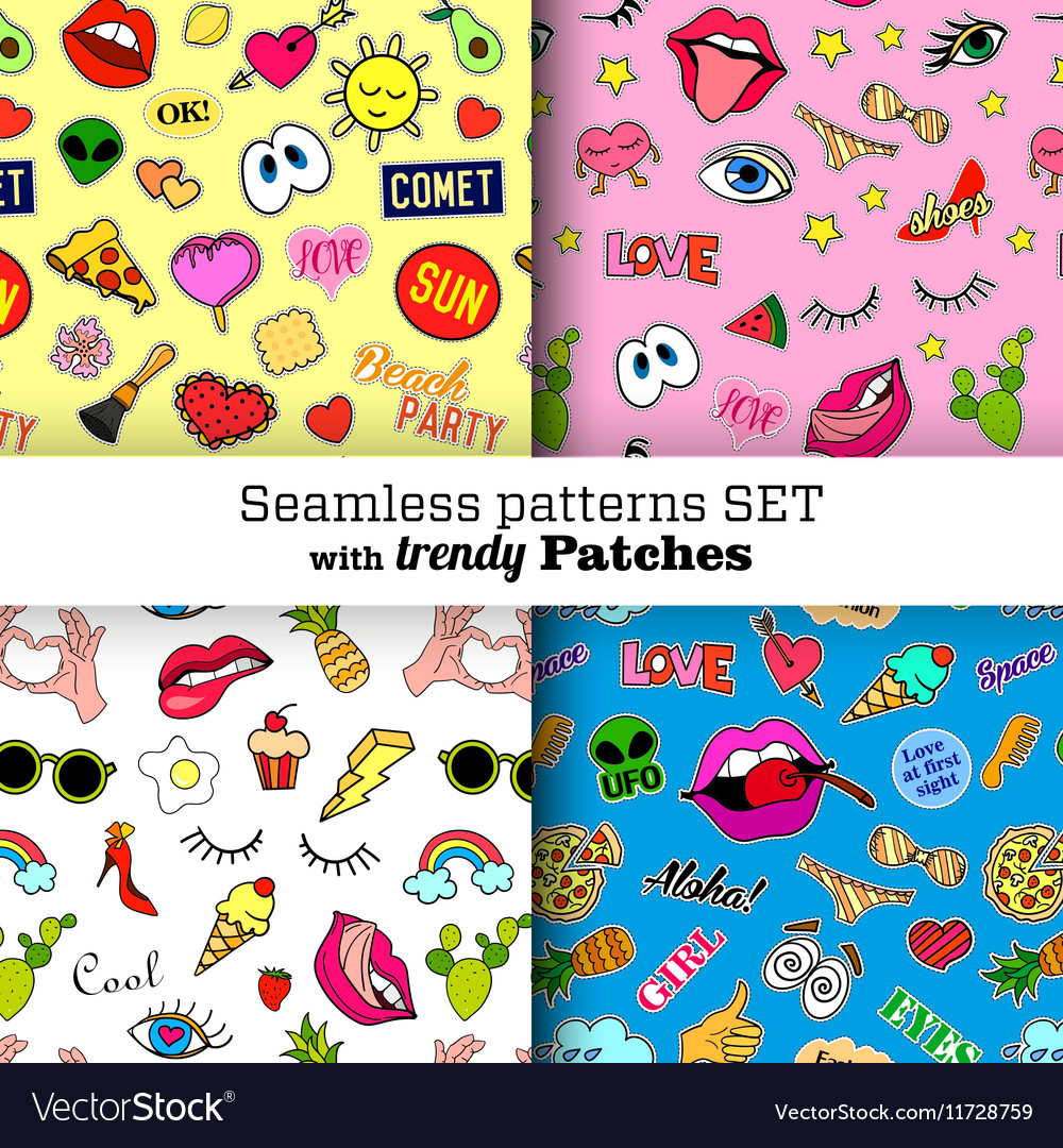 Seamless patterns set with fashion patch badges