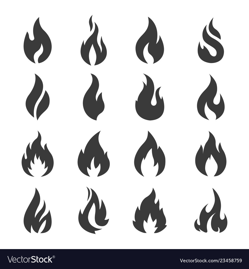 Set of flame fire design