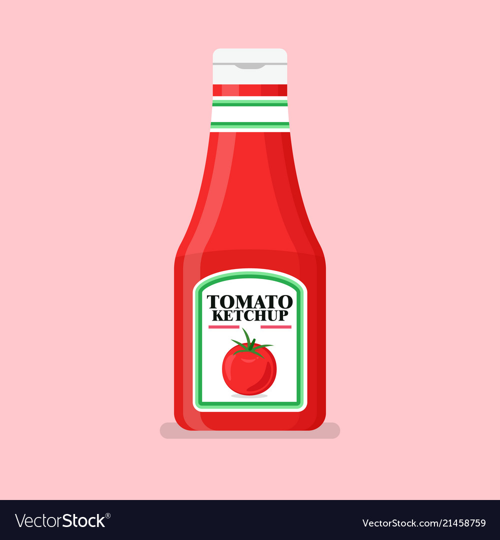 Tomato ketchup bottle in flat style