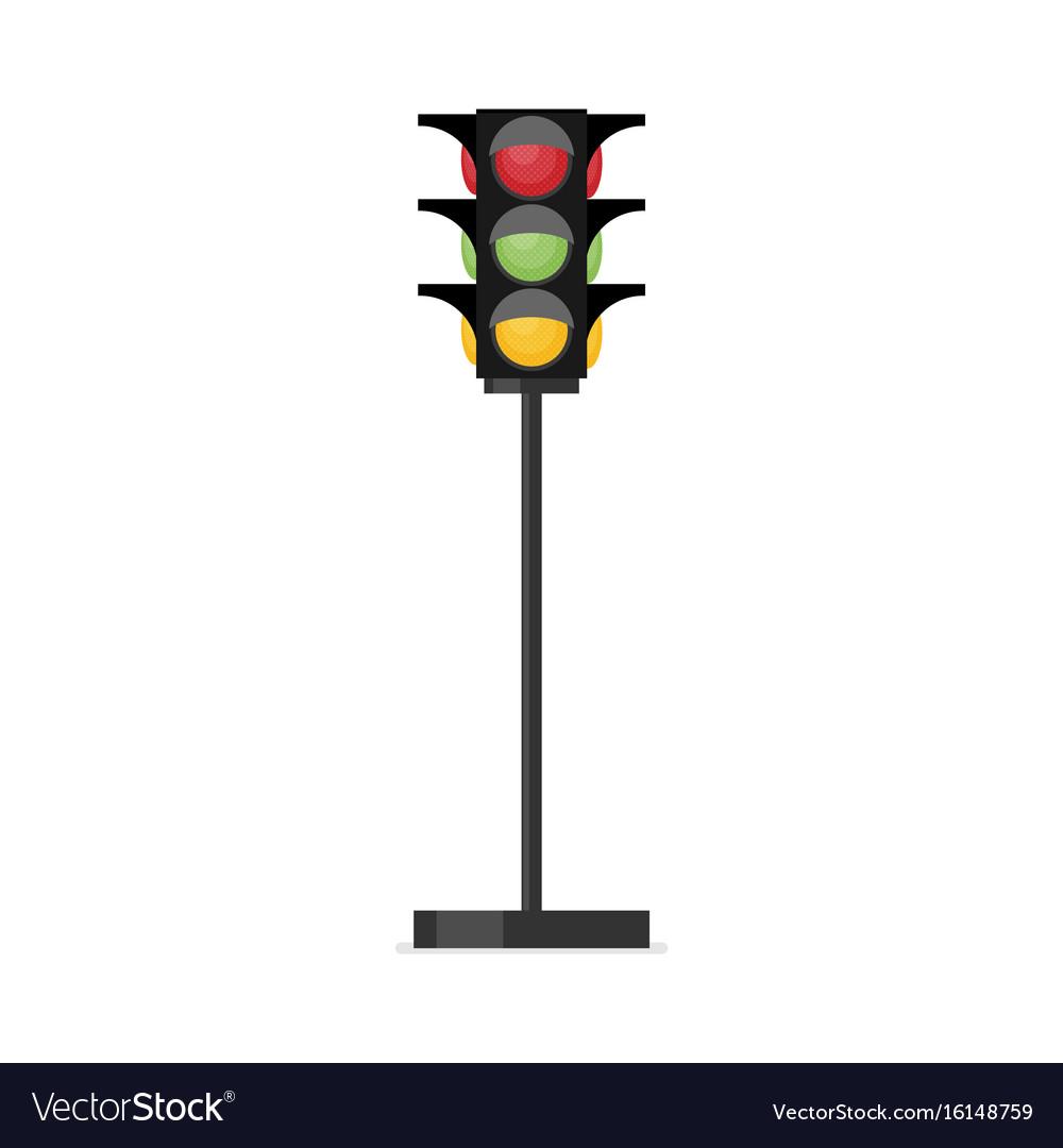 Traffic light single flat icon on white