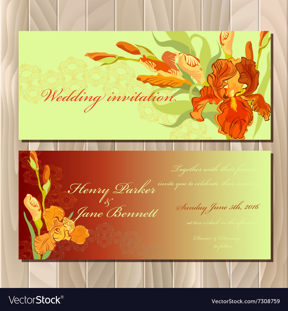 Wedding invitation card with red iris flower vector image izmirmasajfo