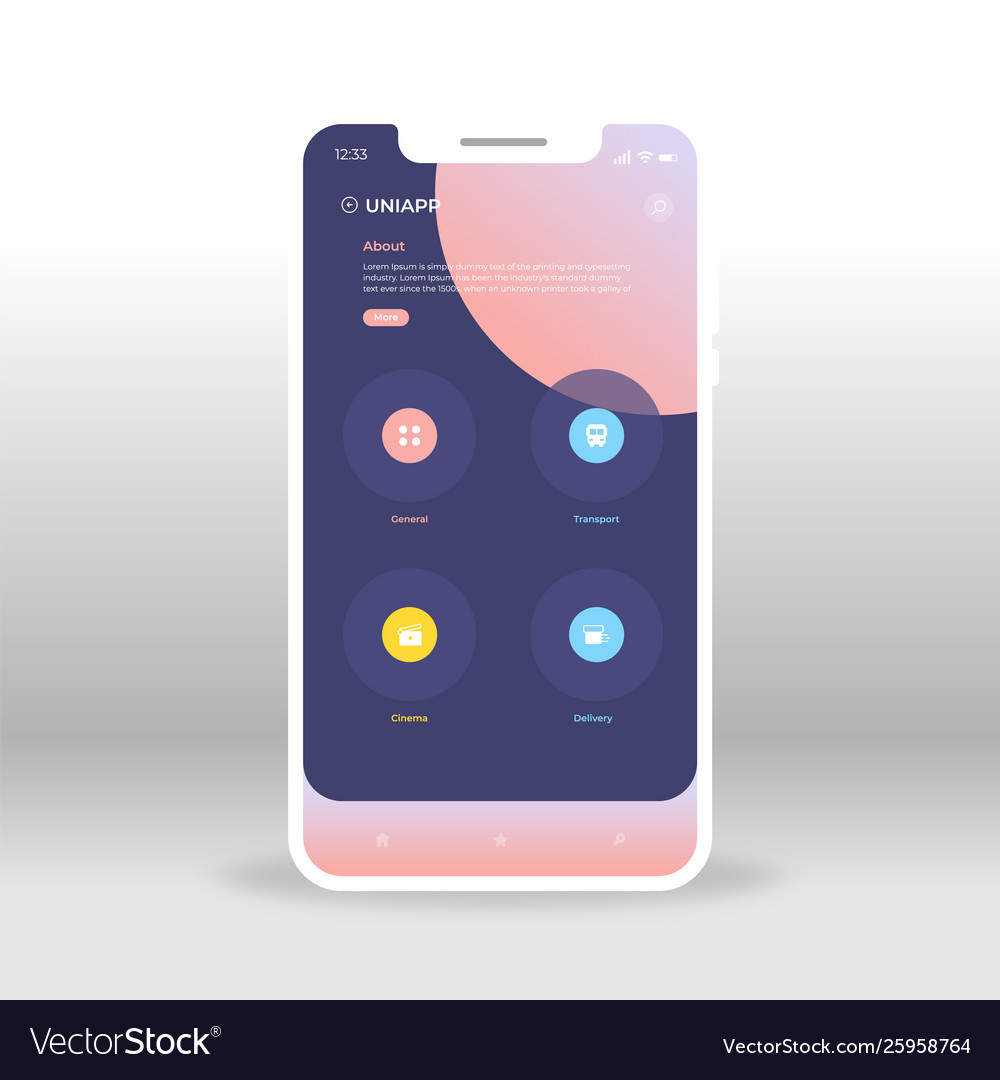 Blue and pink universal ui ux gui screen for