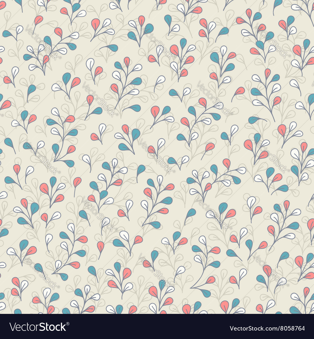 Botanical pattern with cute branches and leaves
