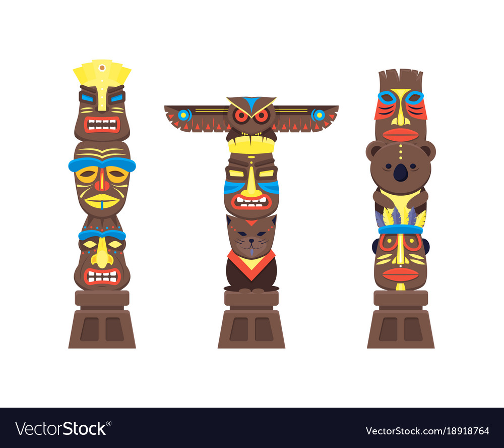 Cartoon traditional religious totem color columns