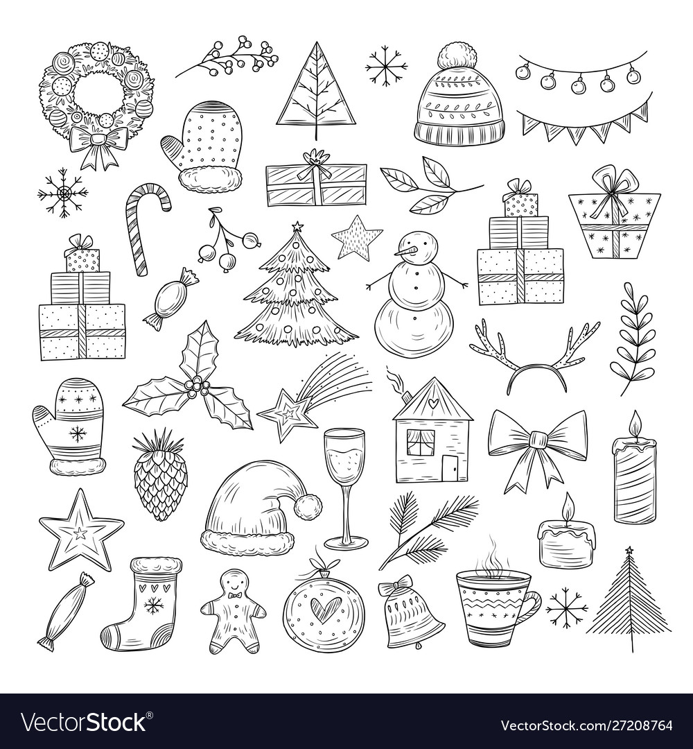 Christmas doodle set sketch wreath fir vector