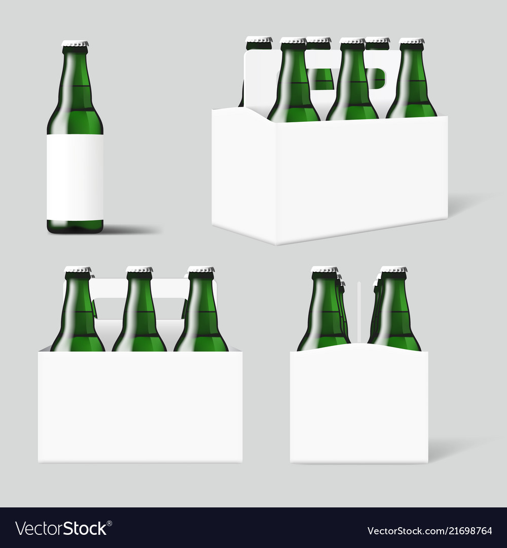 Clear Six Green Beer Bottles White Pack Royalty Free Vector
